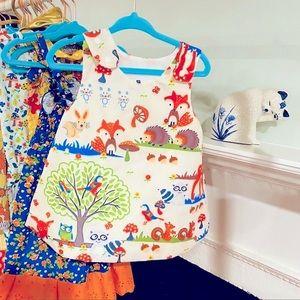 Boho Natural Dress girls 18M Tree Mushroom print